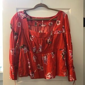 Free People Floral Square Neck Top Size L